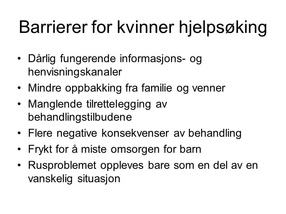 Barrierer for kvinner hjelpsøking Dårlig fungerende informasjons- og henvisningskanaler Mindre oppbakking fra familie og venner Manglende tilrettelegg