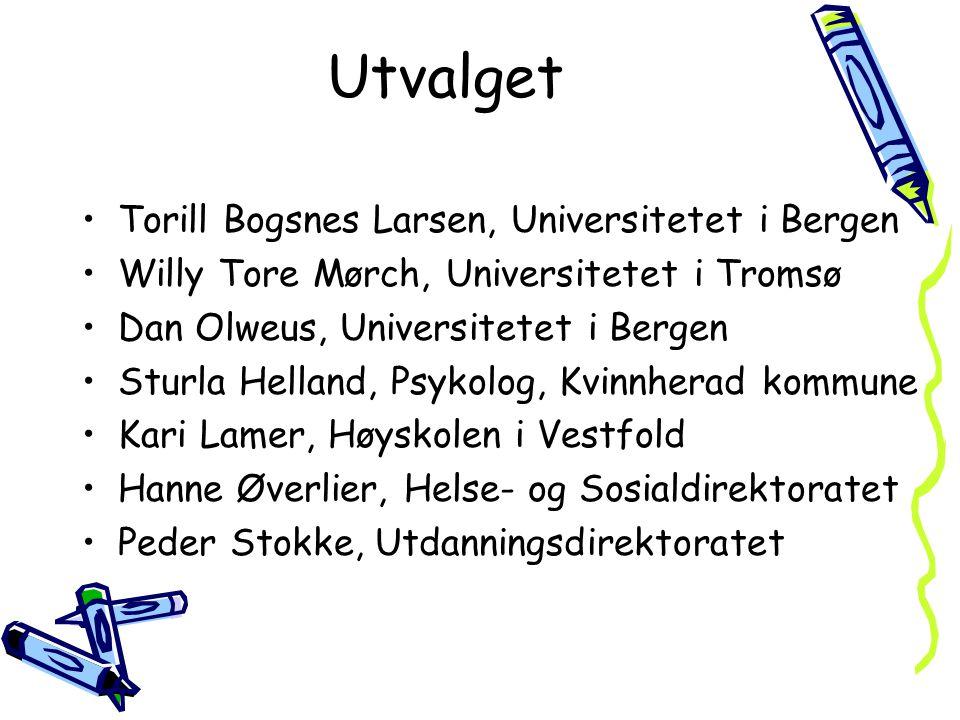 Utvalget Torill Bogsnes Larsen, Universitetet i Bergen Willy Tore Mørch, Universitetet i Tromsø Dan Olweus, Universitetet i Bergen Sturla Helland, Psy
