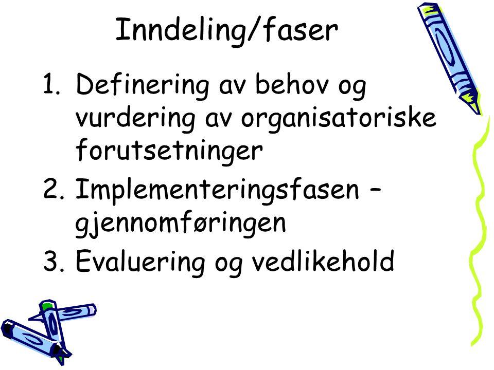 Inndeling/faser 1.Definering av behov og vurdering av organisatoriske forutsetninger 2.Implementeringsfasen – gjennomføringen 3.Evaluering og vedlikeh