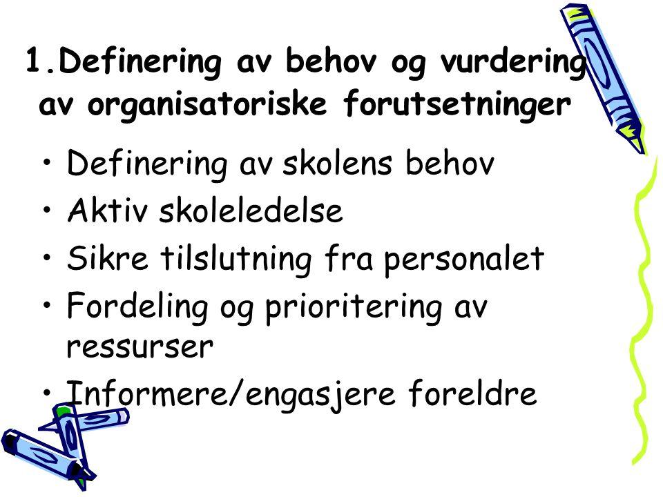 1.Definering av behov og vurdering av organisatoriske forutsetninger Definering av skolens behov Aktiv skoleledelse Sikre tilslutning fra personalet F