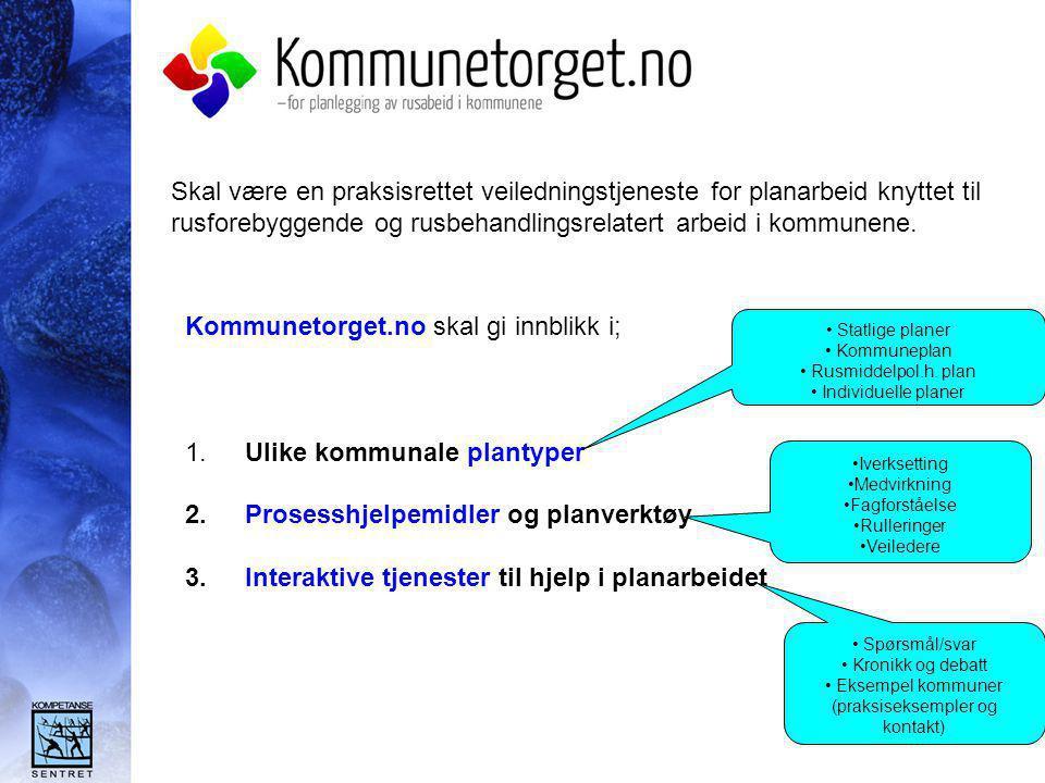 Bakgrunn og samarbeid:  Registrete behov fra praksisfeltet  Politiske føringer; NOU 2003:4, Regjeringens handlingsplan 2003-2005 og Sosial- og helsedirektoratet peker på at det er behov for at rusforebyggende - og mer behandlingsrelatert tematikk må forankres i kommunalt planverk  Erfaringer med interaktive tjenester bla forebygging.no  Nær kontakt med planfaglige og rusfaglige miljøer i Norge – kombinere dette