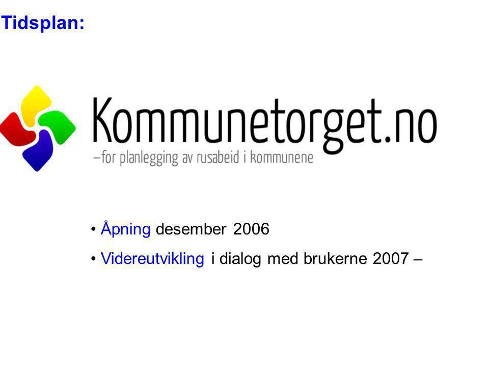 Tidsplan: Åpning desember 2006 Videreutvikling i dialog med brukerne 2007 –