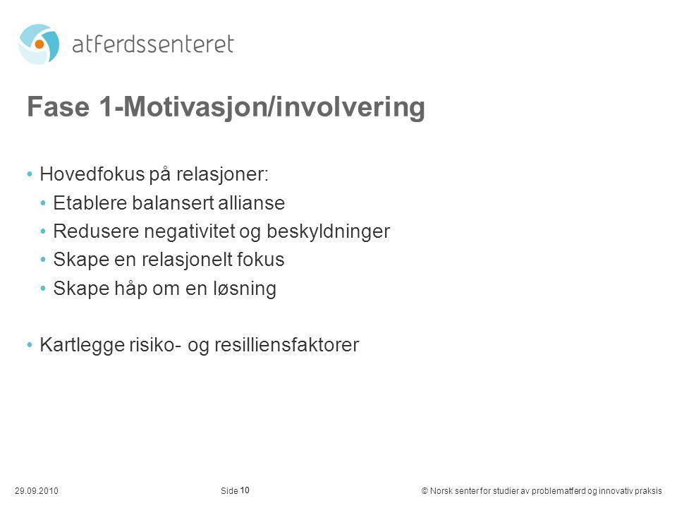 10 29.09.2010© Norsk senter for studier av problematferd og innovativ praksisSide Fase 1-Motivasjon/involvering Hovedfokus på relasjoner: Etablere bal