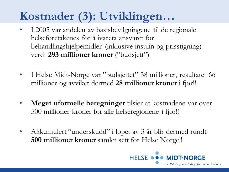 Kostnader (3): Utviklingen… I 2005 var andelen av basisbevilgningene til de regionale helseforetakenes for å ivareta ansvaret for behandlingshjelpemidler (inklusive insulin og prisstigning) verdt 293 millioner kroner ( budsjett ) I Helse Midt-Norge var budsjettet 38 millioner, resultatet 66 millioner og avviket dermed 28 millioner kroner i fjor!.