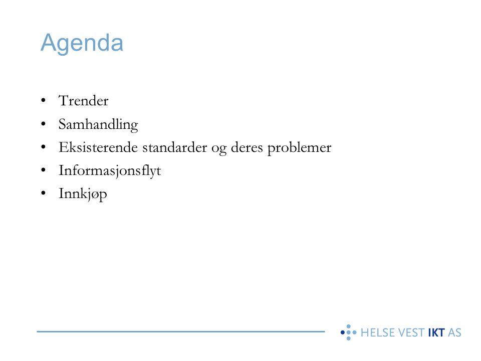 Agenda Trender Samhandling Eksisterende standarder og deres problemer Informasjonsflyt Innkjøp