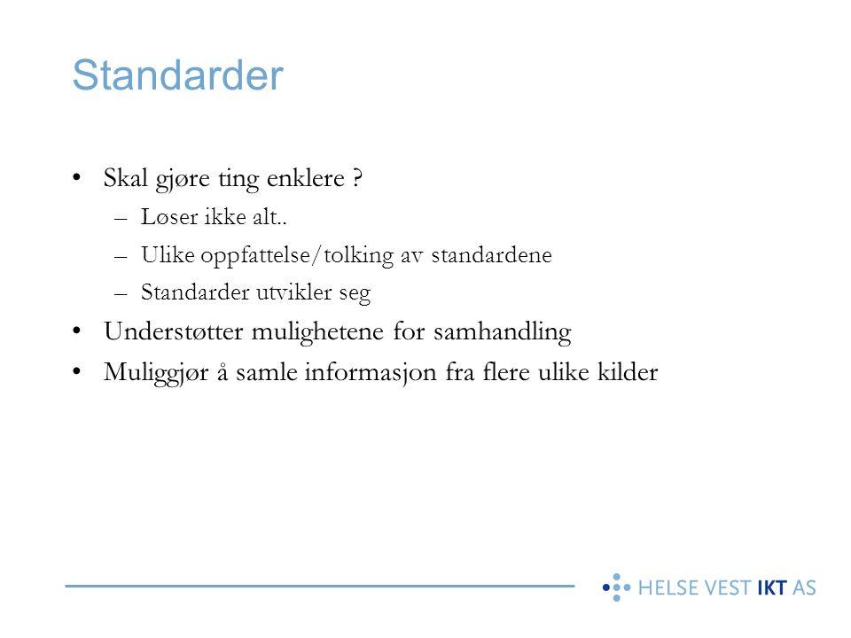 Standarder Skal gjøre ting enklere ? –Løser ikke alt.. –Ulike oppfattelse/tolking av standardene –Standarder utvikler seg Understøtter mulighetene for