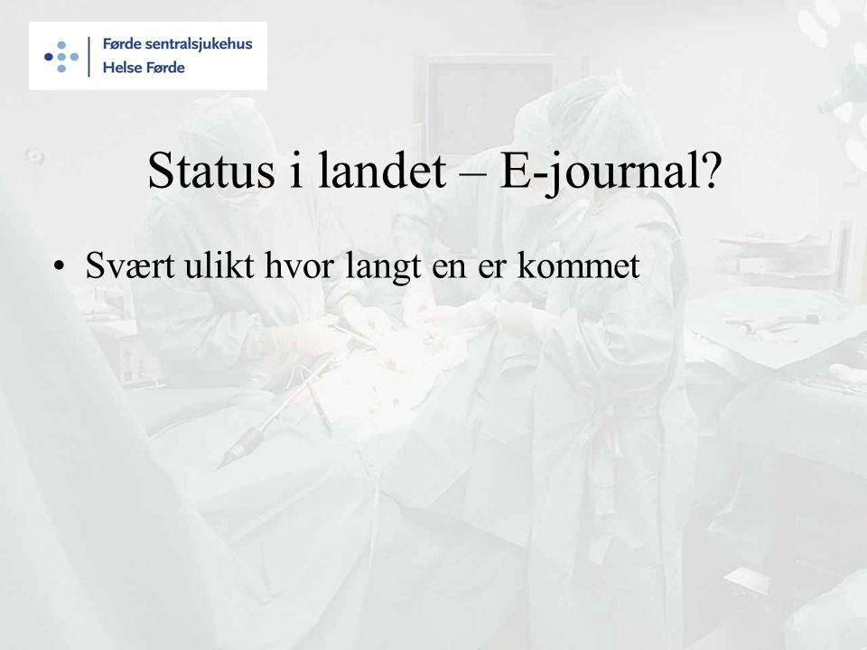 Status i landet – E-journal? Svært ulikt hvor langt en er kommet