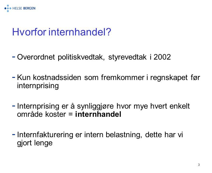 3 Hvorfor internhandel? - Overordnet politiskvedtak, styrevedtak i 2002 - Kun kostnadssiden som fremkommer i regnskapet før internprising - Internpris