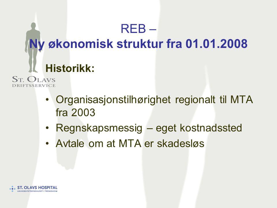 REB – Ny økonomisk struktur fra 01.01.2008 Historikk: Organisasjonstilhørighet regionalt til MTA fra 2003 Regnskapsmessig – eget kostnadssted Avtale om at MTA er skadesløs