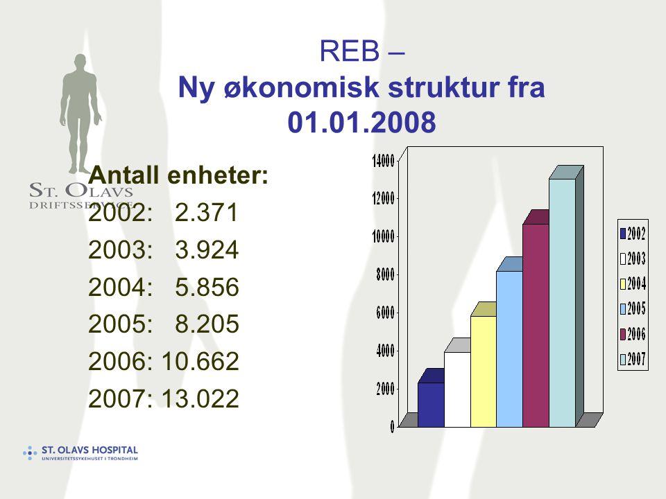 REB – Ny økonomisk struktur fra 01.01.2008 Antall enheter: 2002: 2.371 2003: 3.924 2004: 5.856 2005: 8.205 2006: 10.662 2007: 13.022