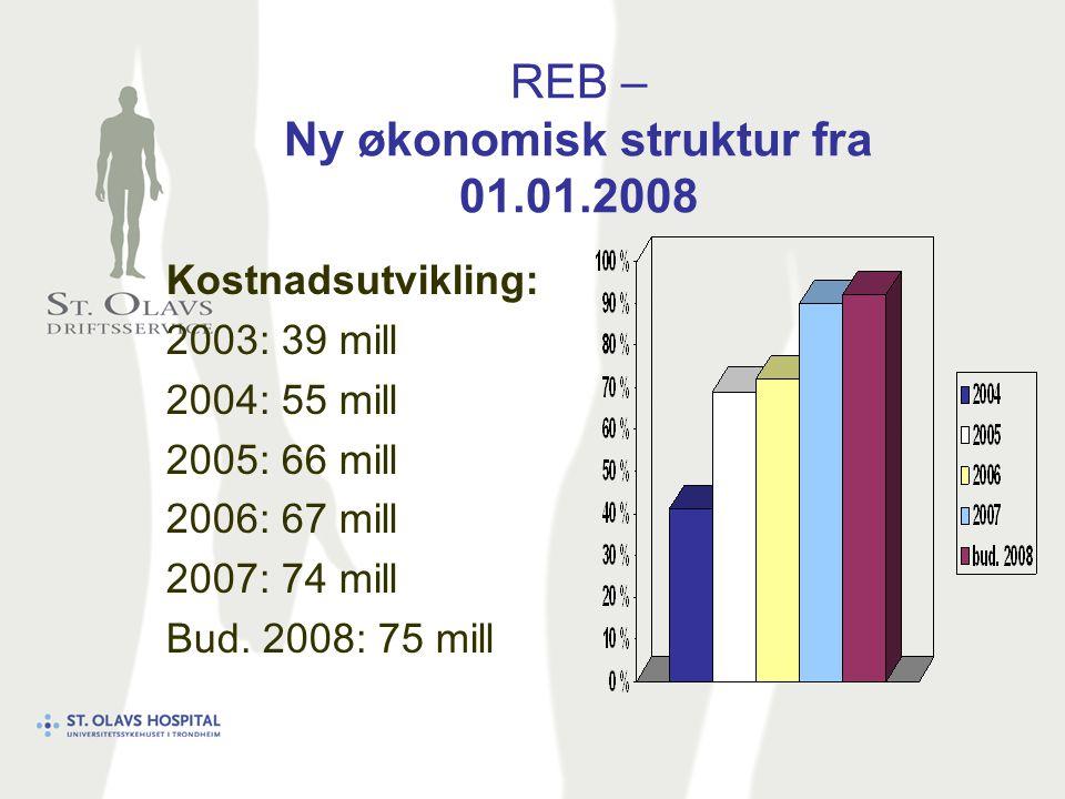 REB – Ny økonomisk struktur fra 01.01.2008 Kostnadsutvikling: 2003: 39 mill 2004: 55 mill 2005: 66 mill 2006: 67 mill 2007: 74 mill Bud.