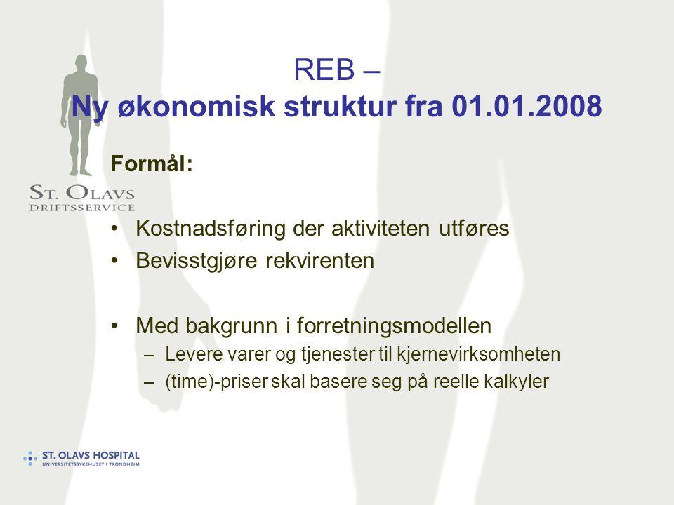 REB – Ny økonomisk struktur fra 01.01.2008 Formål: Kostnadsføring der aktiviteten utføres Bevisstgjøre rekvirenten Med bakgrunn i forretningsmodellen –Levere varer og tjenester til kjernevirksomheten –(time)-priser skal basere seg på reelle kalkyler