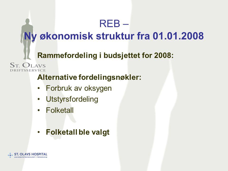 REB – Ny økonomisk struktur fra 01.01.2008 Rammefordeling i budsjettet for 2008: Alternative fordelingsnøkler: Forbruk av oksygen Utstyrsfordeling Folketall Folketall ble valgt