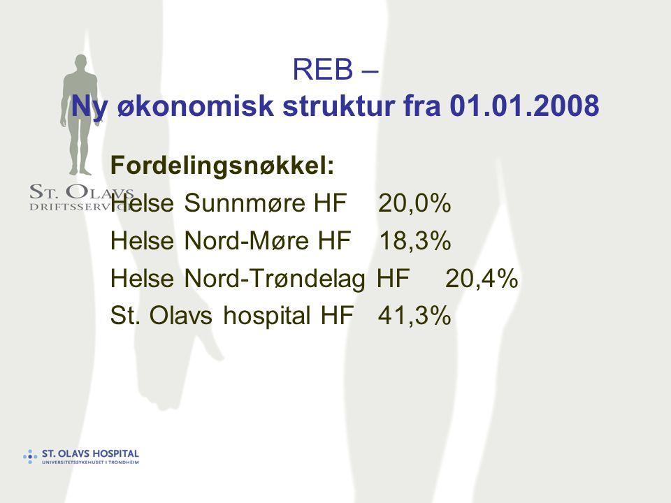 REB – Ny økonomisk struktur fra 01.01.2008 Fordelingsnøkkel: Helse Sunnmøre HF20,0% Helse Nord-Møre HF18,3% Helse Nord-Trøndelag HF20,4% St.