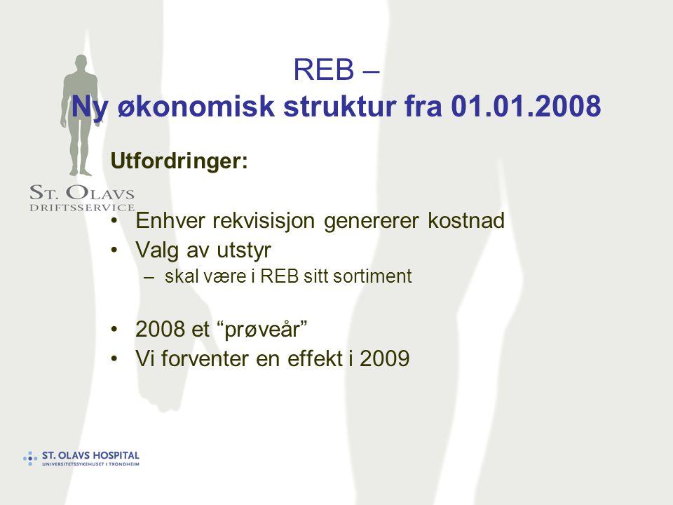 REB – Ny økonomisk struktur fra 01.01.2008 Utfordringer: Enhver rekvisisjon genererer kostnad Valg av utstyr –skal være i REB sitt sortiment 2008 et prøveår Vi forventer en effekt i 2009