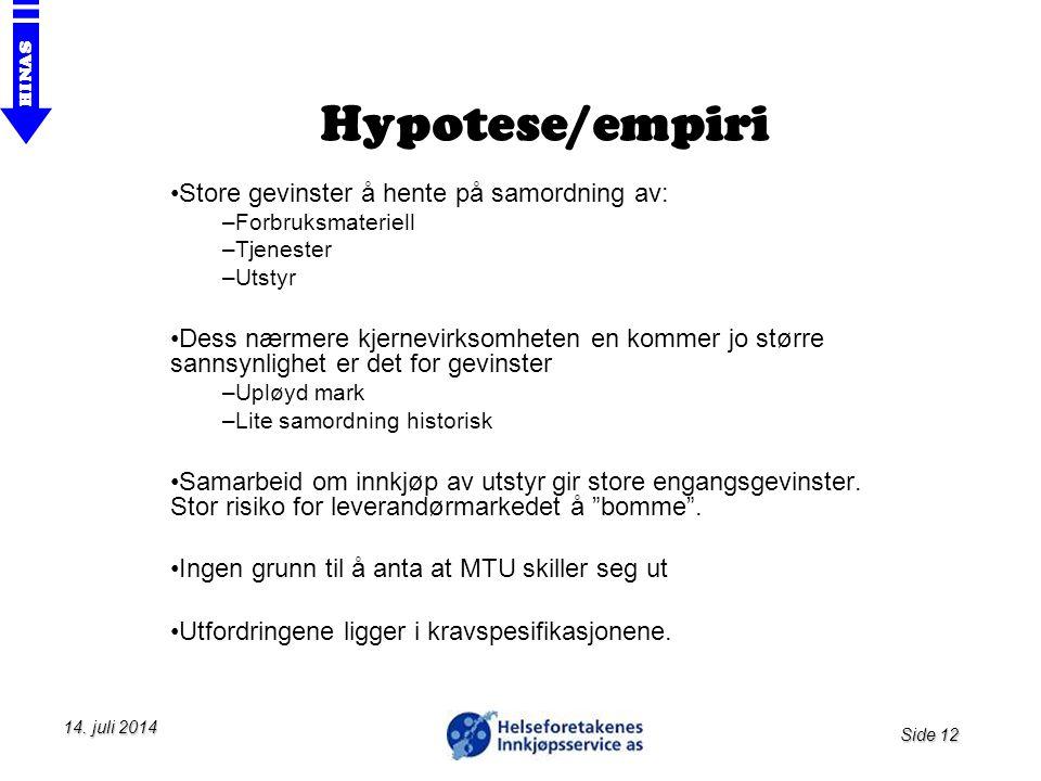 Side 12 HINAS 14. juli 201414. juli 201414. juli 2014 Hypotese/empiri Store gevinster å hente på samordning av: –Forbruksmateriell –Tjenester –Utstyr