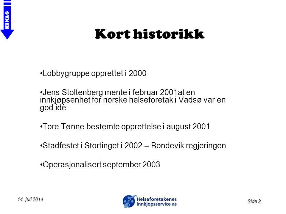 Side 2 HINAS 14. juli 201414. juli 201414. juli 2014 Kort historikk Lobbygruppe opprettet i 2000 Jens Stoltenberg mente i februar 2001at en innkjøpsen