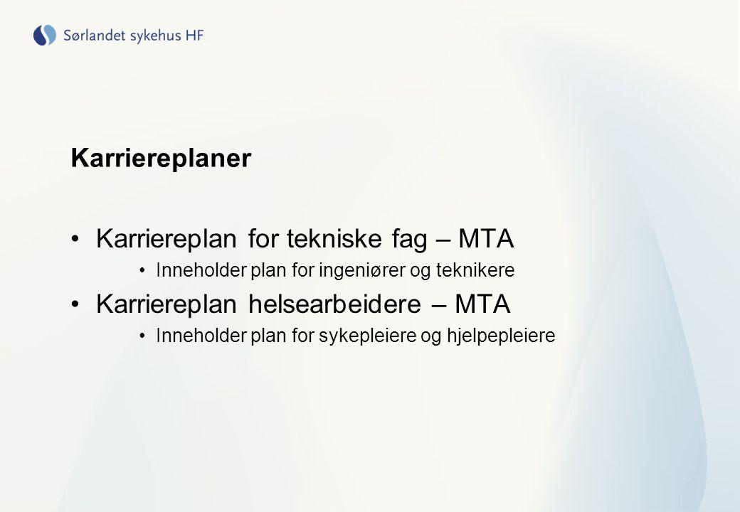 Karriereplaner Karriereplan for tekniske fag – MTA Inneholder plan for ingeniører og teknikere Karriereplan helsearbeidere – MTA Inneholder plan for s