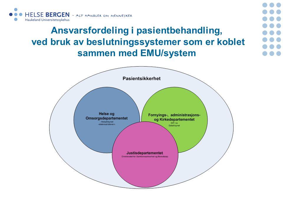Ansvarsfordeling i pasientbehandling, ved bruk av beslutningssystemer som er koblet sammen med EMU/system