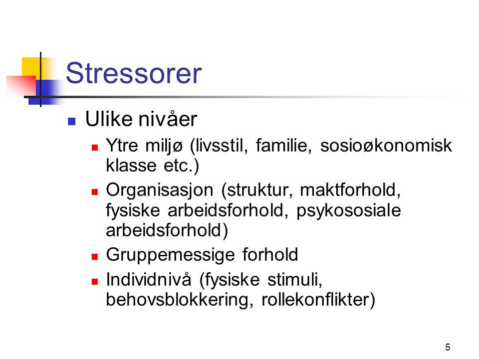6 Stressreaksjoner Følelsesmessige Nervøsitet, sinne, irritasjon, depresjon Kognitive Nedsatt konsentrasjons- og oppmerksomhetsevne Atferdsmessige Vanskelig å samarbeide med Stoff- og alkoholmisbruk