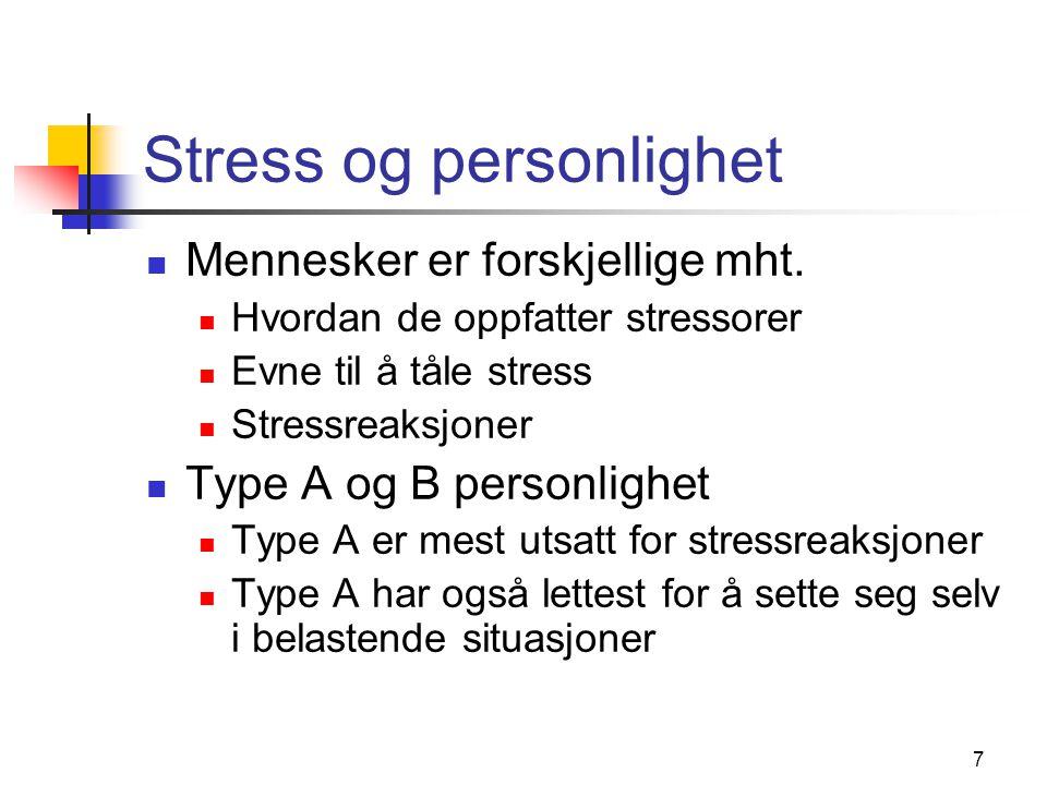 8 Mestring av stress Strategier på organisasjonsnivå Strategier på gruppenivå Strategier på individnivå Selvregulering Kognitiv terapi Skaffe seg kontroll over arbeidssituasjonen