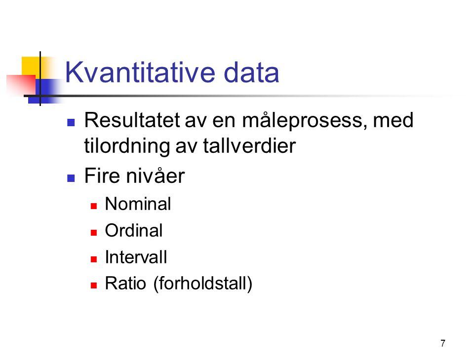 7 Kvantitative data Resultatet av en måleprosess, med tilordning av tallverdier Fire nivåer Nominal Ordinal Intervall Ratio (forholdstall)