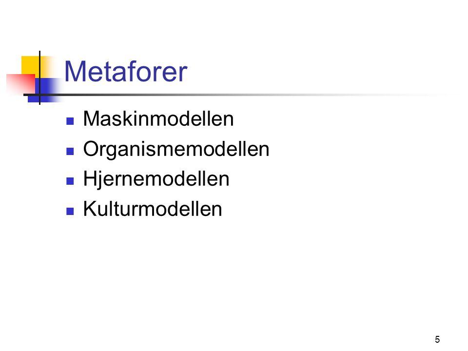 5 Metaforer Maskinmodellen Organismemodellen Hjernemodellen Kulturmodellen