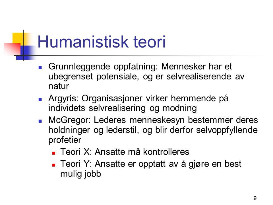 9 Humanistisk teori Grunnleggende oppfatning: Mennesker har et ubegrenset potensiale, og er selvrealiserende av natur Argyris: Organisasjoner virker h