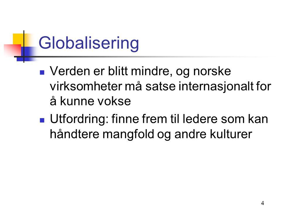 4 Globalisering Verden er blitt mindre, og norske virksomheter må satse internasjonalt for å kunne vokse Utfordring: finne frem til ledere som kan håndtere mangfold og andre kulturer
