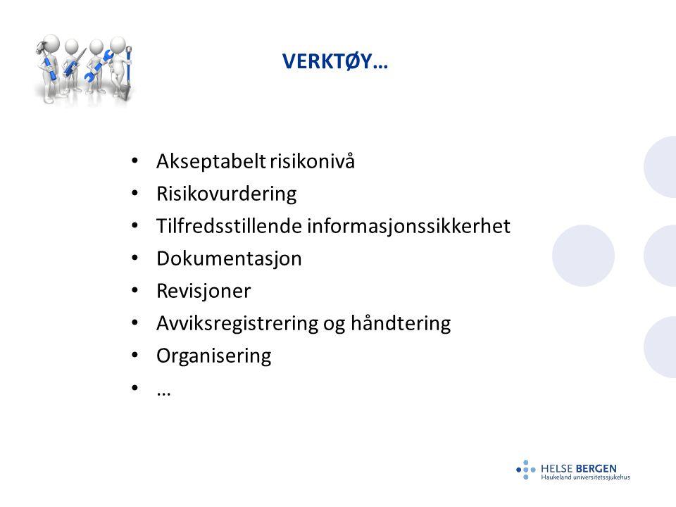 VERKTØY… Akseptabelt risikonivå Risikovurdering Tilfredsstillende informasjonssikkerhet Dokumentasjon Revisjoner Avviksregistrering og håndtering Orga