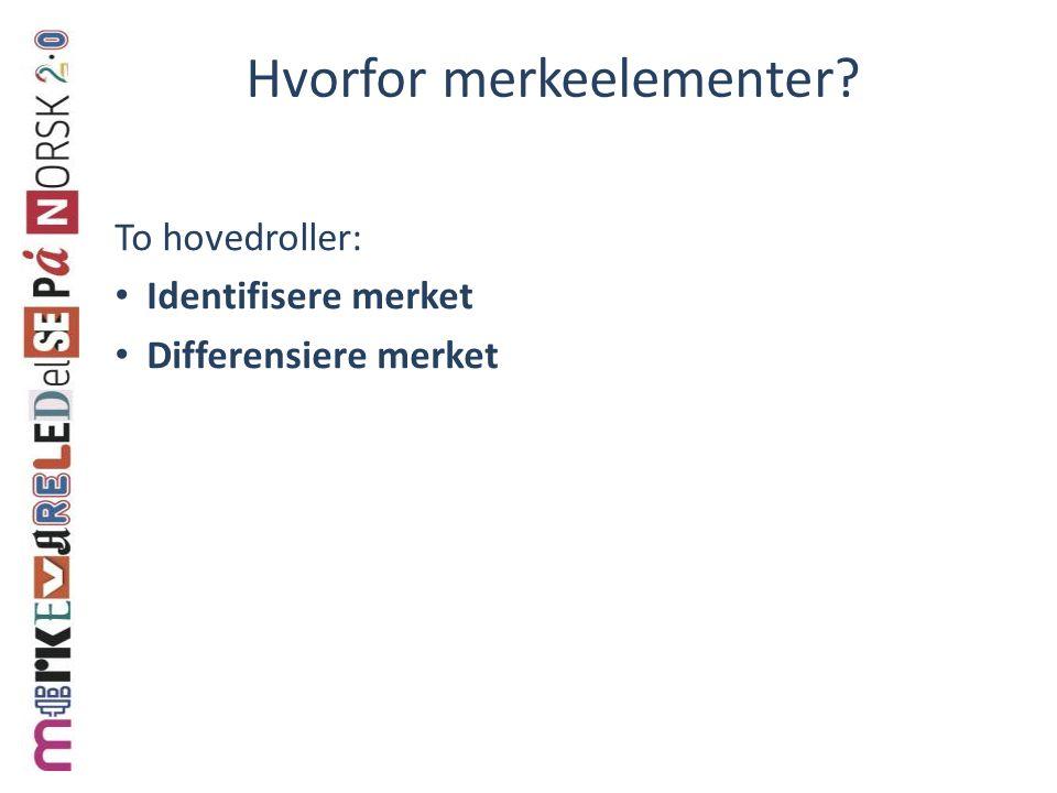 Hvorfor merkeelementer? To hovedroller: Identifisere merket Differensiere merket