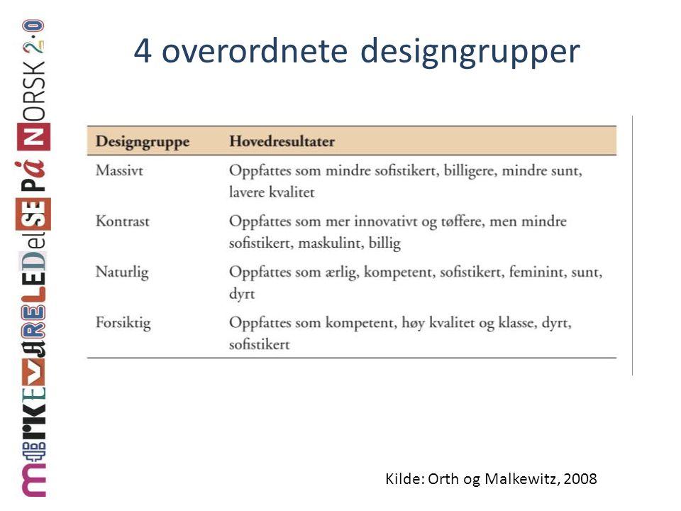 4 overordnete designgrupper Kilde: Orth og Malkewitz, 2008