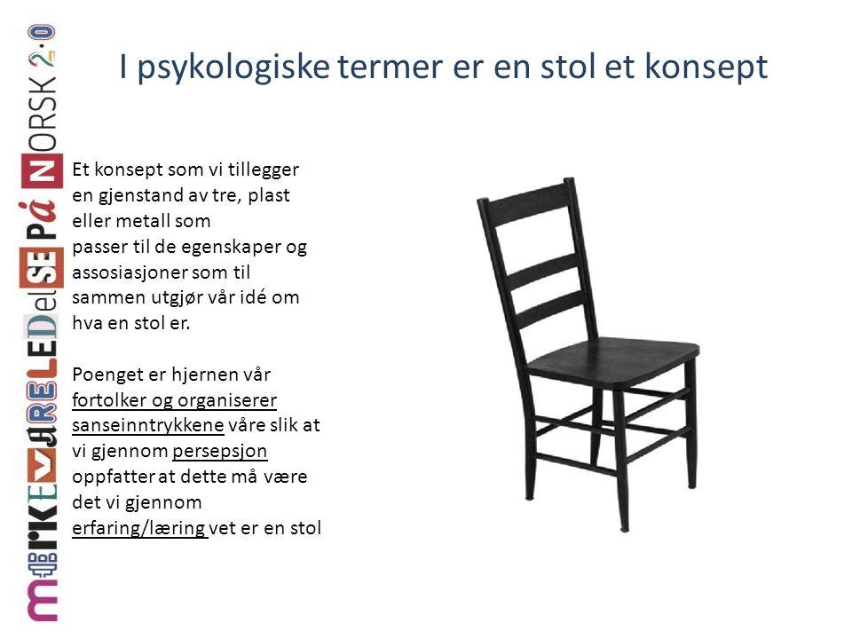 Et konsept som vi tillegger en gjenstand av tre, plast eller metall som passer til de egenskaper og assosiasjoner som til sammen utgjør vår idé om hva en stol er.