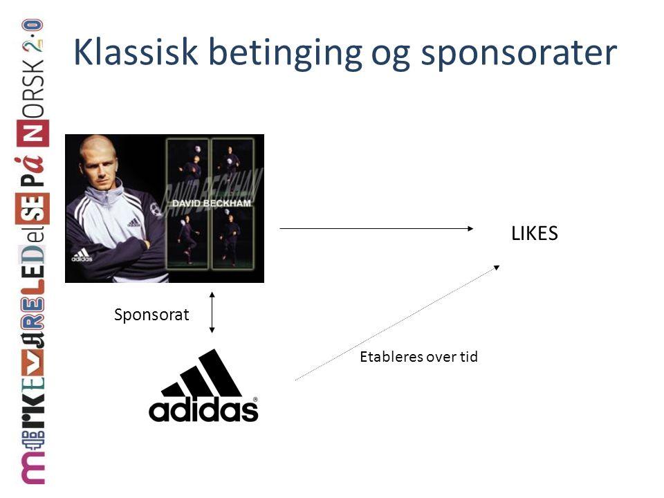 Klassisk betinging og sponsorater LIKES Etableres over tid Sponsorat