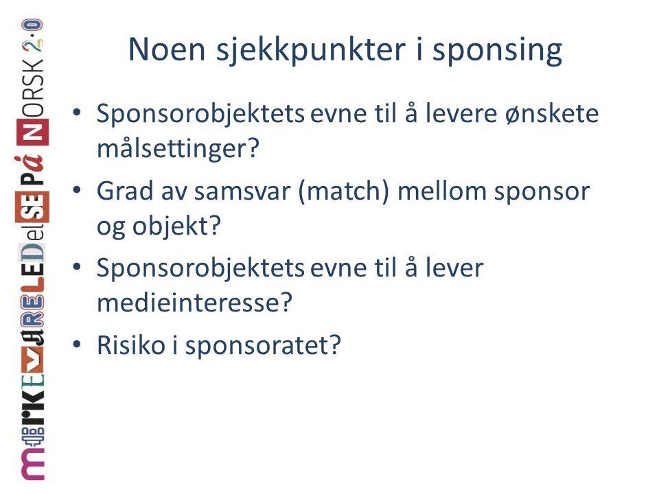 Noen sjekkpunkter i sponsing Sponsorobjektets evne til å levere ønskete målsettinger? Grad av samsvar (match) mellom sponsor og objekt? Sponsorobjekte