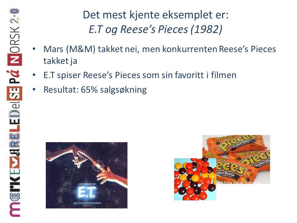 Det mest kjente eksemplet er: E.T og Reese's Pieces (1982) Mars (M&M) takket nei, men konkurrenten Reese's Pieces takket ja E.T spiser Reese's Pieces