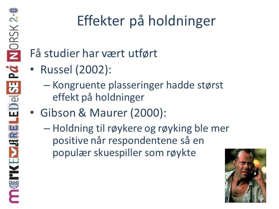 Effekter på holdninger Få studier har vært utført Russel (2002): – Kongruente plasseringer hadde størst effekt på holdninger Gibson & Maurer (2000): –