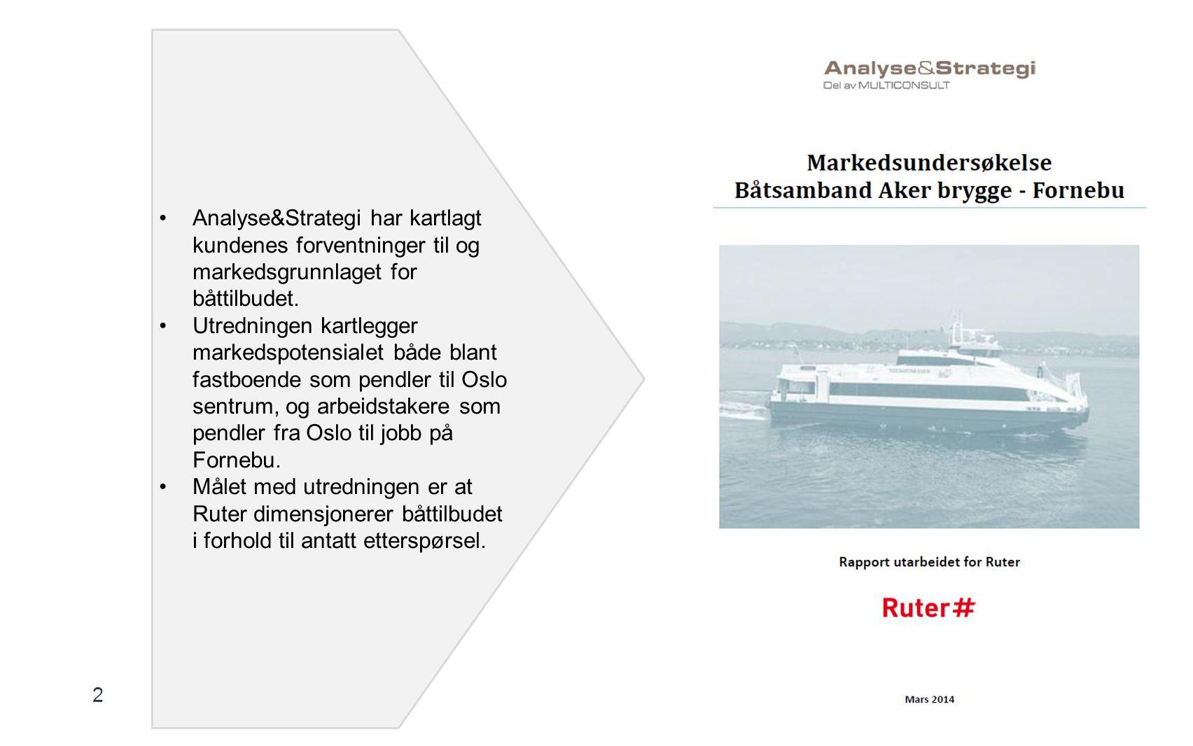 2 Analyse&Strategi har kartlagt kundenes forventninger til og markedsgrunnlaget for båttilbudet.