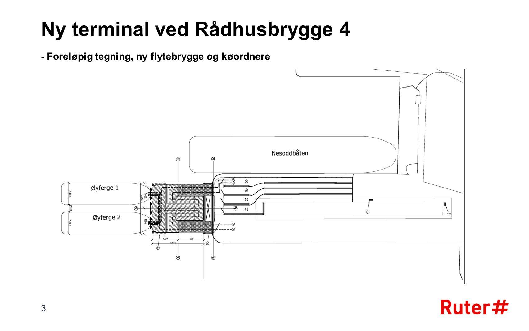 - Foreløpig tegning, ny flytebrygge og køordnere 3 Ny terminal ved Rådhusbrygge 4