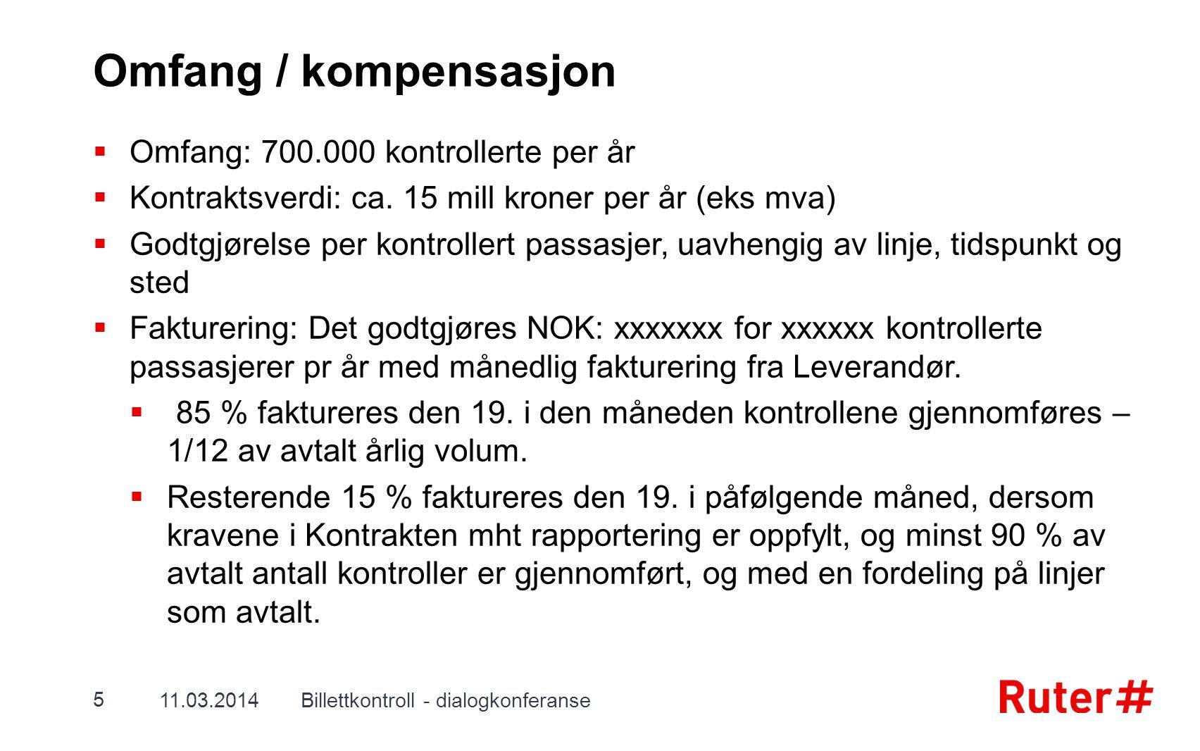 Omfang / kompensasjon  Omfang: 700.000 kontrollerte per år  Kontraktsverdi: ca. 15 mill kroner per år (eks mva)  Godtgjørelse per kontrollert passa