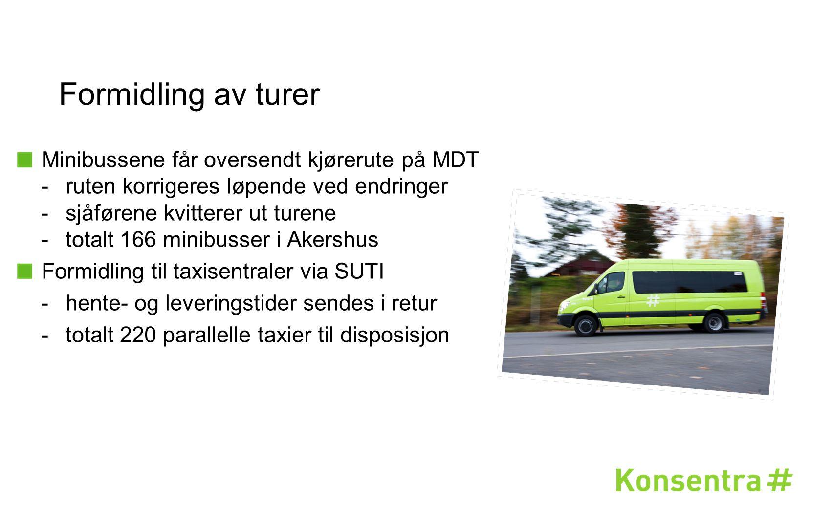 Formidling av turer Minibussene får oversendt kjørerute på MDT -ruten korrigeres løpende ved endringer -sjåførene kvitterer ut turene -totalt 166 mini