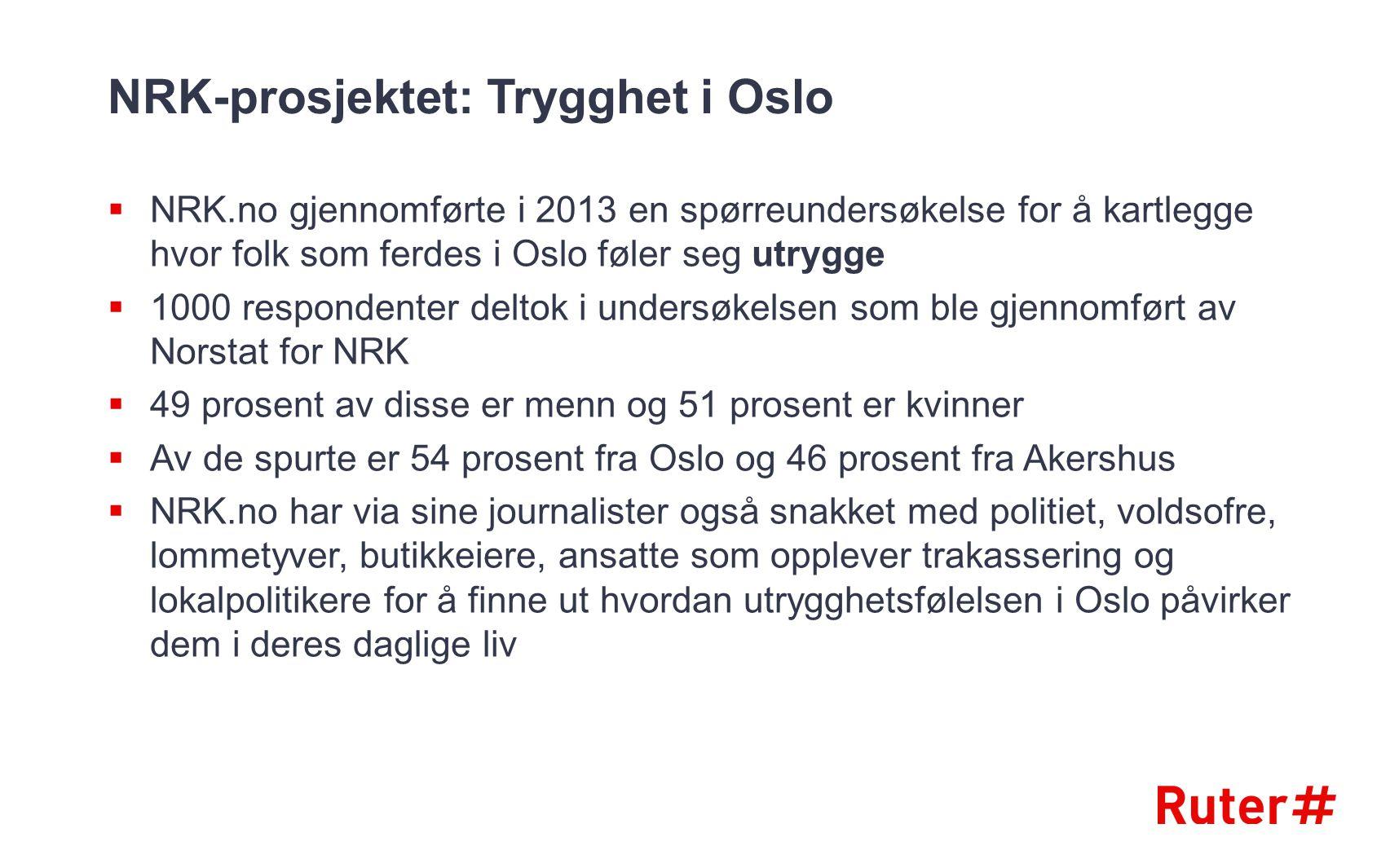 NRK-prosjektet: Trygghet i Oslo  NRK.no gjennomførte i 2013 en spørreundersøkelse for å kartlegge hvor folk som ferdes i Oslo føler seg utrygge  100