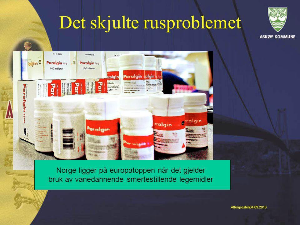 Det skjulte rusproblemet Norge ligger på europatoppen når det gjelder bruk av vanedannende smertestillende legemidler Aftenposten04.09.2010