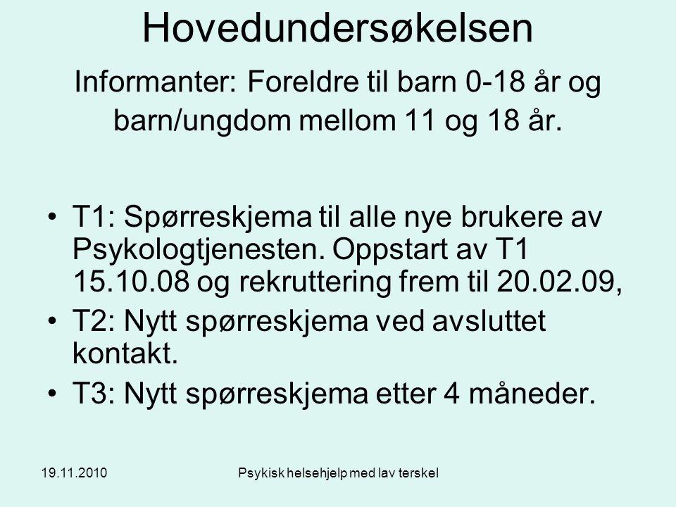 19.11.2010Psykisk helsehjelp med lav terskel Hovedundersøkelsen Informanter: Foreldre til barn 0-18 år og barn/ungdom mellom 11 og 18 år. T1: Spørresk