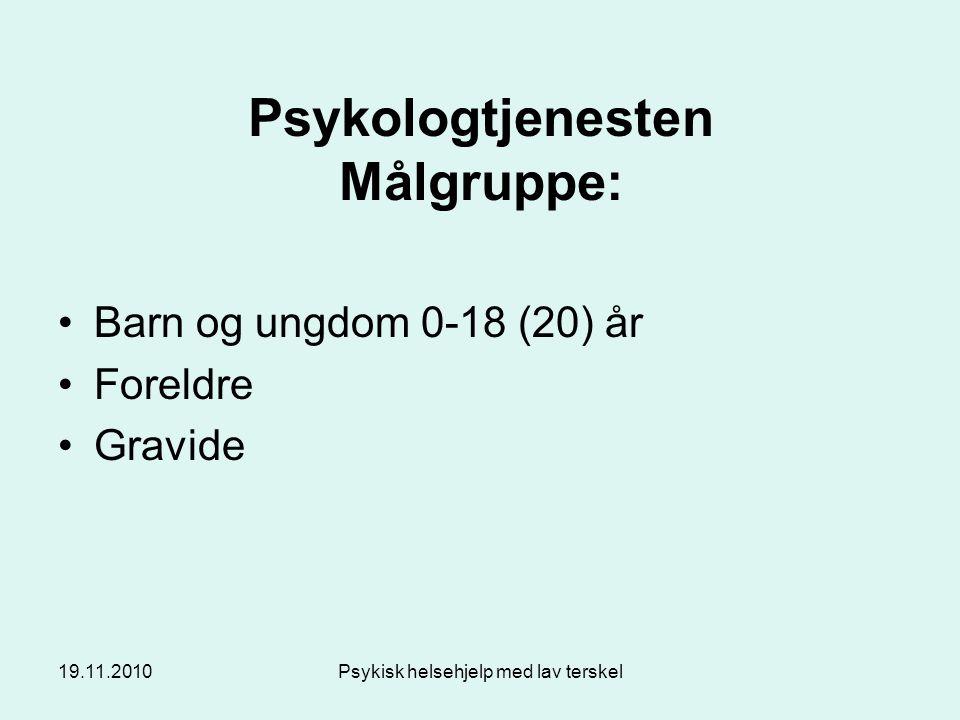 19.11.2010Psykisk helsehjelp med lav terskel Figur 4.4.1 Foreldrenes gjennomsnittskårer på vansker ut fra alder på barnet/ungdommen (0-3 er ikke tatt med da det ikke fylles ut SDQ for denne aldersgruppen).