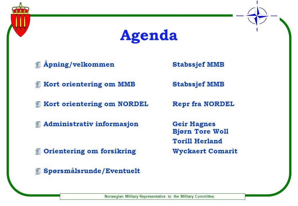 Norwegian Military Representative to the Military Committee MMB Organisasjon -pr 1 aug 03 Diverse tlfnr: Fax: arkiv: 02707-6359 admin: 02707-6392
