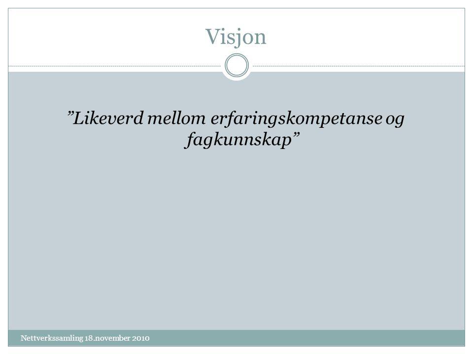 Visjon Likeverd mellom erfaringskompetanse og fagkunnskap Nettverkssamling 18.november 2010