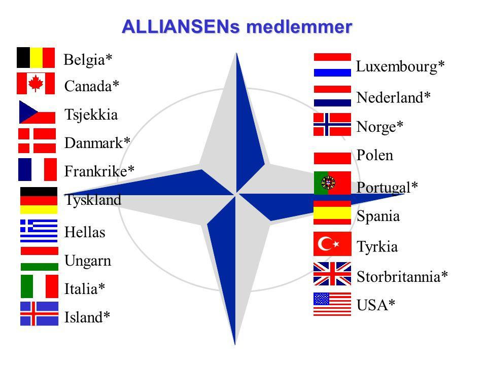 Belgia* Canada* Tsjekkia Danmark* Frankrike* Tyskland Hellas Ungarn Italia* Island* Luxembourg* Nederland* Norge* Polen Portugal* Spania Tyrkia Storbr