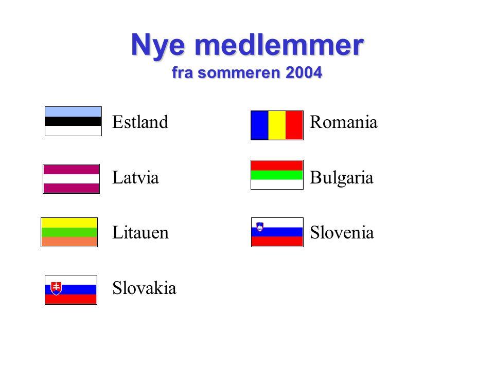 Nye medlemmer fra sommeren 2004 Estland Latvia Litauen Slovakia Romania Bulgaria Slovenia