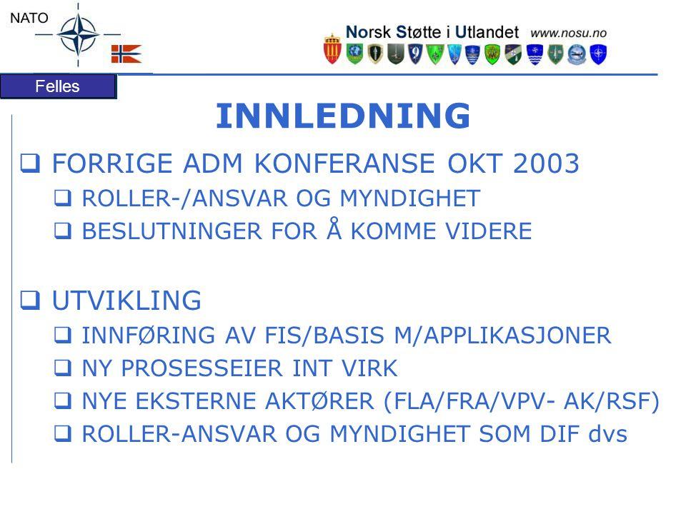 Felles INNLEDNING  FORRIGE ADM KONFERANSE OKT 2003  ROLLER-/ANSVAR OG MYNDIGHET  BESLUTNINGER FOR Å KOMME VIDERE  UTVIKLING  INNFØRING AV FIS/BAS